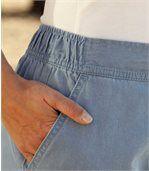 Splývavé nohavice z ľahkej džínsoviny preview3
