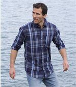 Men's Blue Checked Shirt preview1