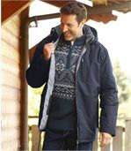 Men's Navy Parka Coat - Winter Valley preview4