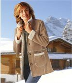 Women's Brown Winter Faux Suede Coat with Sherpa Lining preview1
