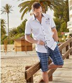 Men's Checked Blue Cargo Shorts