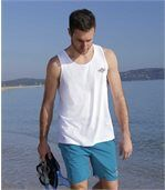 Pack of 3 Men's Sea Dream Vests - White Turquoise Blue preview4