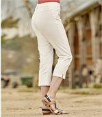 Women's Ecru Stretchy Summer Cropped Trousers