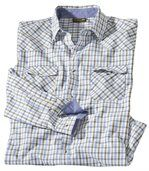 Men's Montana Checked Poplin Shirt - Blue White Khaki preview2