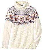 Women's Cream Jacquard Knit Roll-Neck Jumper