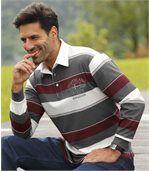 Men's Striped Polo Shirt - Ecru Grey Burgundy preview1