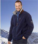 Men's Navy Blue Sherpa-Lined Fleece Jacket preview1