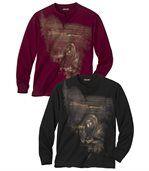 2er-Pack T-Shirts mit Aufdruck preview1