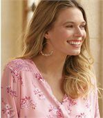 Women's Pink Floral Mousseline Blouse preview3