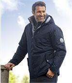 Men's Navy Parka Coat - Winter Valley preview1