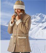 Women's Brown Winter Faux Suede Coat with Sherpa Lining preview3