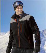 Men's Mesh-Lined Fleece Sports Jacket - Black Grey