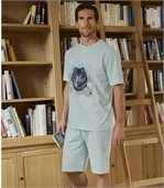 Men's Blue Short Pyjama Set - Wolf Print