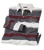 Men's Striped Polo Shirt - Ecru Grey Burgundy preview2