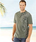 Pack of 2 Men's Button Neck T-Shirts - Grey Khaki  preview3
