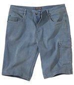 Modré strečové džínsové bermudy preview1