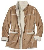 Women's Brown Winter Faux Suede Coat with Sherpa Lining preview2