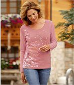 Women's Pink Long Sleeve Top with Floral Pattern preview1