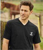 Pack of 4 Men's V-Neck Escape T-Shirts - Blue Black Khaki Off-White