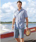 Modré strečové džínsové bermudy preview2