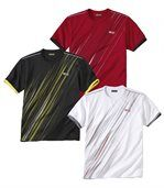 Pack of 3 Men's Summer Sport T-Shirts - White Red Black