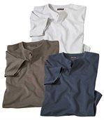 Pack of 3 Men's T-Shirts – Ecru Blue Brown