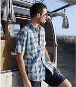 Men's Blue Lagoon Cotton Waffle Shirt preview4