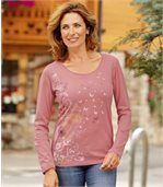 Women's Pink Long Sleeve Top with Floral Pattern preview3