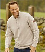 Men's Beige Cotton Funnel-Neck Jumper