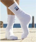 Pack of 5 Pairs of Men's Sports Socks - Grey White Black Blue preview2