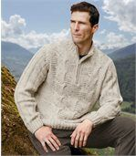 Troyer-Pullover mit Zopfmuster preview1