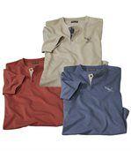 Pack of 3 Men's Mottled Tops - Blue Red Beige preview1