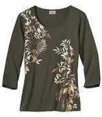 T-shirt met goudbruine plantenprint preview2