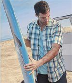 Bavlnená košeľa sreliéfnym efektom Blue Lagoon
