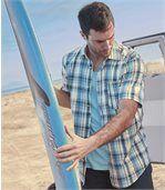 Men's Blue Lagoon Cotton Waffle Shirt preview2