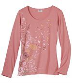 Women's Pink Long Sleeve Top with Floral Pattern preview2
