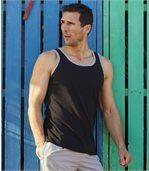 Pack of 3 Men's Sports Vest Tops - Turquoise White Black