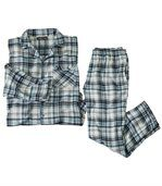 Men's Blue Checked Flannel Pyjama Set