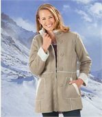 Women's Beige Faux Suede Coat with Sherpa Lining preview1