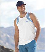 Pack of 3 Men's Sporty Vests - Black White Turquoise