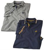 Pack of 2 Men's Piqué Polo Shirts - Navy Grey preview1