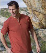Zestaw 3 melanżowych t-shirtów z dekoltem z guzikami preview2