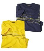 Pack of 2 Men's Striped T Shirts - Navy Yellow