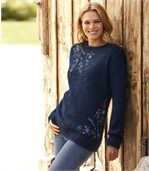 Women's Blue Embroidered Fluffy Knit Jumper preview1