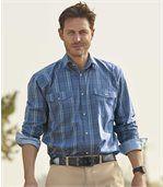 Men's Blue Hill Checked Poplin Shirt preview1