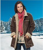 Women's Brown Faux Suede Long Coat preview1