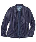Women's Blue Faux Leather Jacket preview2