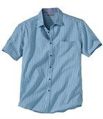 Men's Blue Waffle-Effect Cotton Shirt preview2