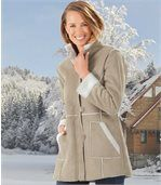Women's Beige Faux Suede Coat with Sherpa Lining preview2