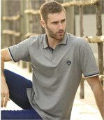 Pack of 2 Men's Piqué Polo Shirts - Navy Grey preview4